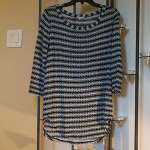 Silver thread sweater from Saks.